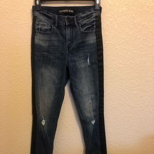 Express jeans, with leather stripe on sides